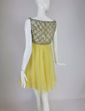 Vintage Malcolm Starr Baby Doll dress rhinestones and Lemon Chiffon 1960s