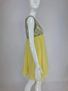 SOLD Vintage Malcolm Starr Baby Doll dress rhinestones and Lemon Chiffon 1960s