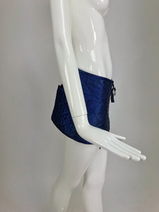Sonia Rykiel quilted blue satin belt or skirt with large pockets 1980s