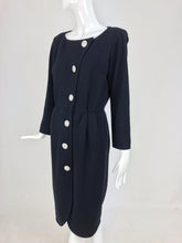 Yves Saint Laurent Black Jersey Dress with Rhinestone Buttons 1980s