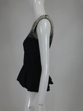 Alexander McQueen Pearl Bodice Sleeveless Peplum Top in Black