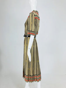 SOLD G Gucci Silk Shirtwaist Dress Rare Logo Print 1970s