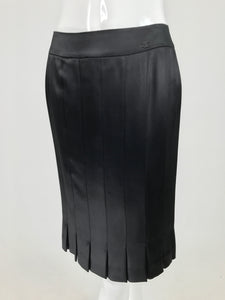 Chanel Black Silk Satin Pleated Hem Fitted Skirt Unworn with Tags  2005p