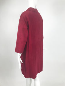 Vintage Burgundy Suede and Leather Coat 1960s