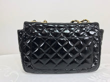 Vintage Jay Herbert Quilted Flap Black Patent Leather Chain Handbag 1960s