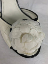 SOLD Chanel Quilted Mules Patent Heels and Camellia Flowers 38 1/2