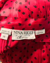 Vintage Nina Ricci Red Silk Satin Printed Blouse and Skirt set 1980s