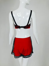 Joan's Specialty 1940s Hand Made Red Black Lace Lingerie Three Piece Set