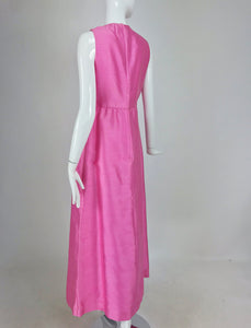 SOLD Kent Originals bubble gum pink slub silk bow front evening dress 1960s 12
