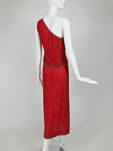 Victoria Royal Fire Engine Red Beaded Two Piece One Shoulder Gown 1960s