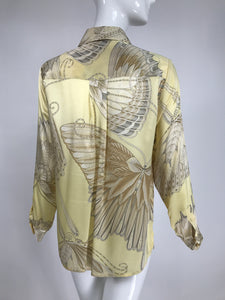 Vintage Salvatore Ferragamo Iconic Silk Satin Butterfly Blouse 1970s
