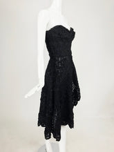 1950s Black Ribbon Work Strapless Asymmetrical Dress