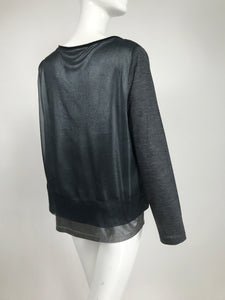 Fabiana Filippi Silver Metallic Long Sleeve Silk Organza Layered Top