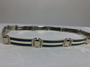 Gucci enamel stripe in dark blue and silver metal belt, 1970s