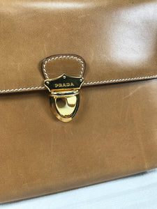 Prada Flap Front Saddle Tan Leather Shoulder bag Gold Hardware