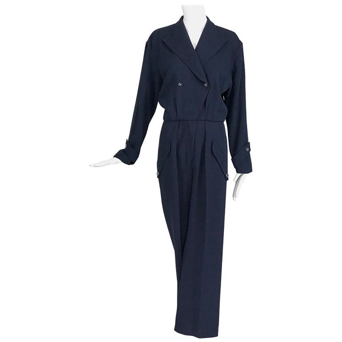 Vintage Thierry Mugler Navy Blue Jumpsuit 1980s