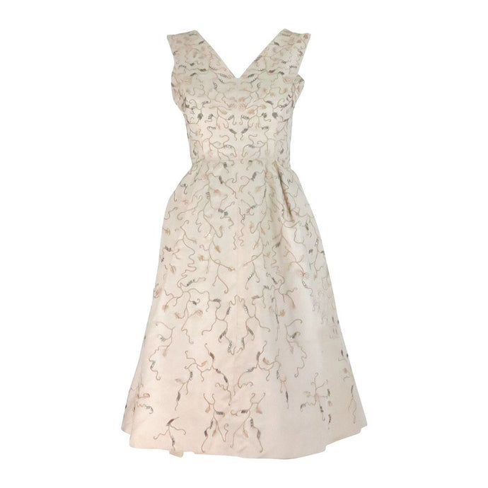 Hattie Carnegie embroidered & beaded ivory silk cocktail dress 1950s