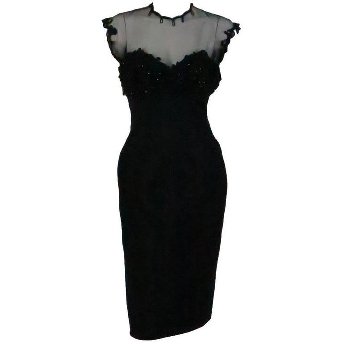Tur Zel Miami Beach black illusion & jewel bust silk cocktail dress 1950s