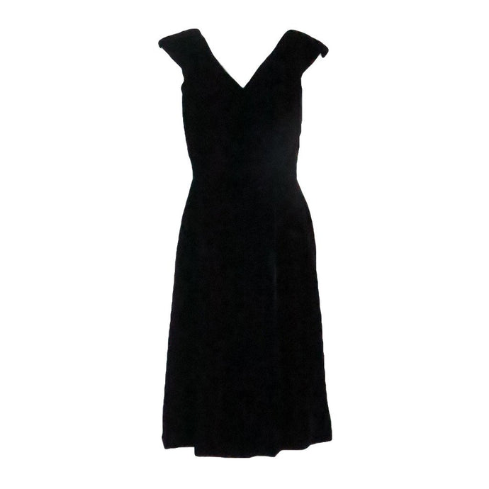 Vintage Estevez Early 1960s Black Velvet Cocktail Dress