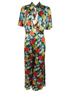 1920s Floral Printed Silk Crepe Satin Evening or Beach Pajamas and Cape Vintage
