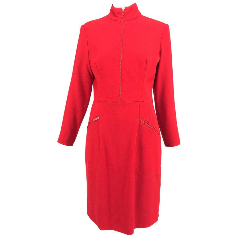 Valentino Vintage tailored red wool twill big zipper dress 1990s