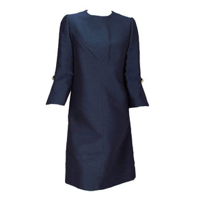 Vintage Abe Schrader Navy Silk A Line Cocktail Dress 1960s