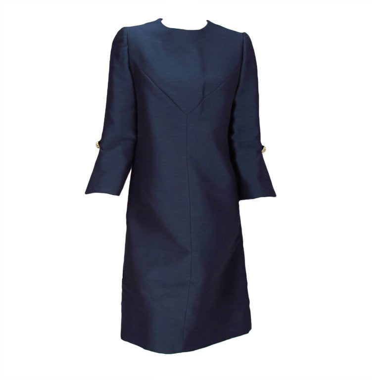 Abe Schrader Navy Silk A Line Cocktail Dress 1960s