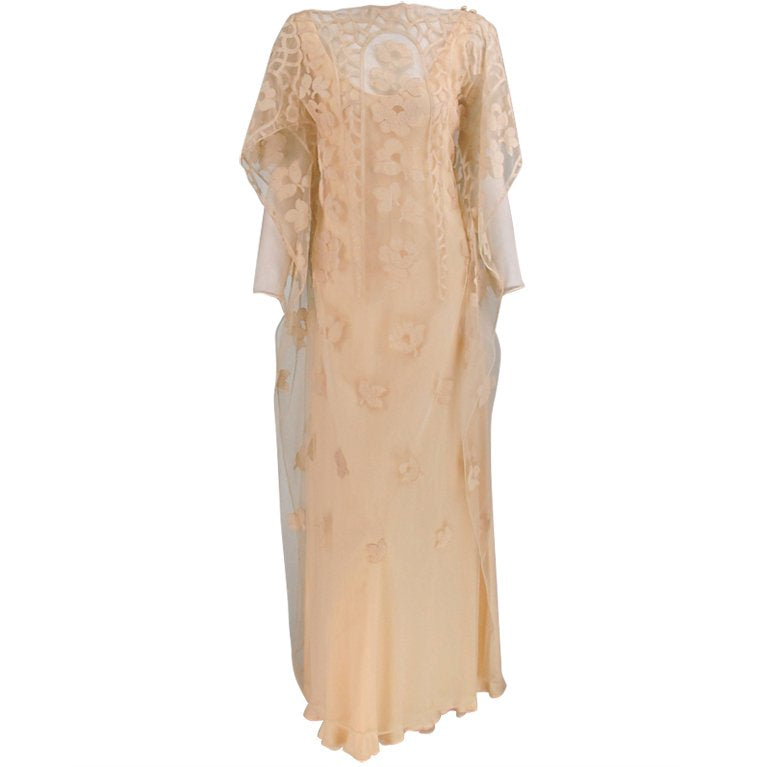 Stavropoulos cream chiffon & lace tabard gown 1960s
