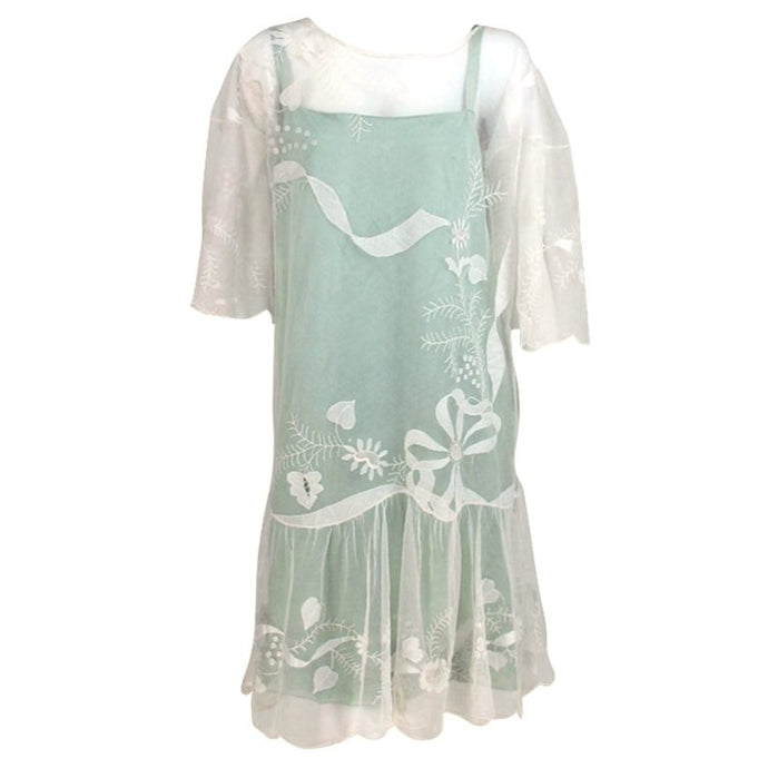 1920s Flapper Embroidered Tulle Tea/Wedding Dress