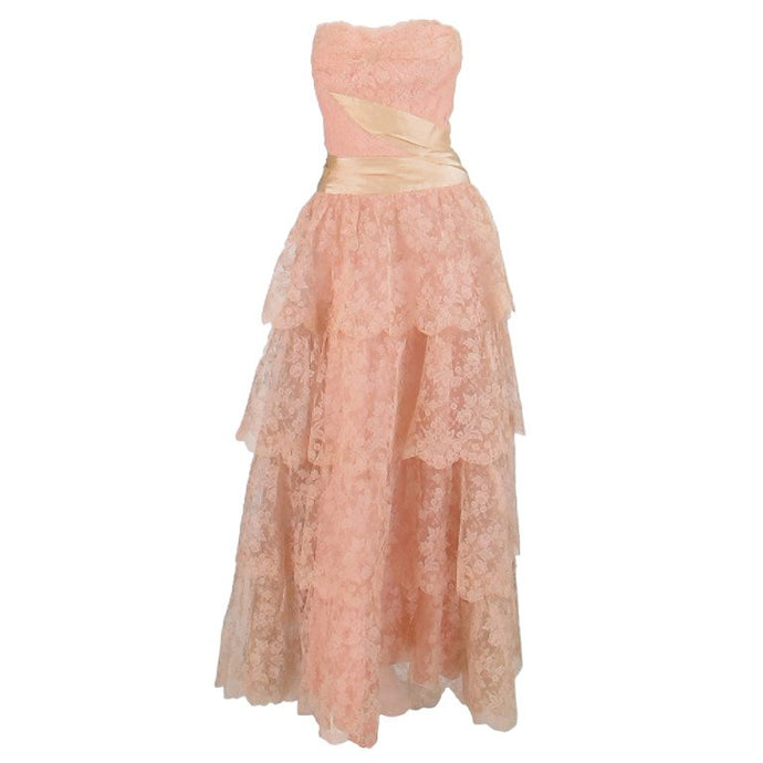 Rosalie Macrini Strapless Tiered Pink Lace Evening Gown 1950s