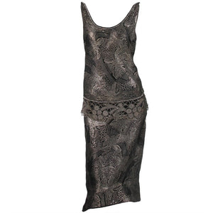 Silver and black metallic brocade & metallic lace dress 1920s