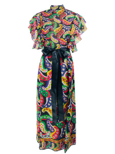 Joan Leslie for Kasper Paisley Silk Organza 30s Inspired Maxi Dress 1970s