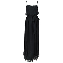 Vintage Adele Simpson Black Chiffon Pleated Maxi Dress 1970s