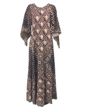 India Block Printed Cotton Bias Cut Maxi Dress Caftan 1960s