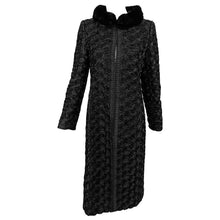 Valentino Black Silk Faille Appliqued Coat Mink Collar