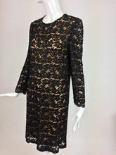 Mod style beaded black floral lace nude lined cocktail dress 1960s