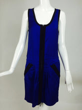 Gucci blue wtih black trim zipper front sleeveless dress