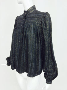 SOLD Yves Saint Laurent black metallic stripe gauze peasant top 1970s