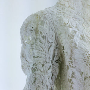Battenburg white tape lace coat handmade Victorian