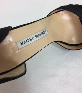 Manolo Blahnik black silk rhinestone buckle open toe d'orsay high heel pumps 40M