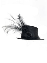 Edwardian Glazed black straw hat with Bird of Paradise feathers