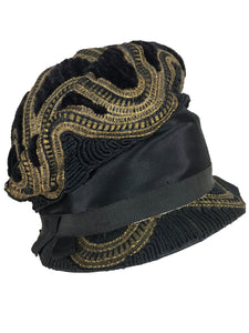 1920s Flapper gold metallic Passementerie Cloche Hat