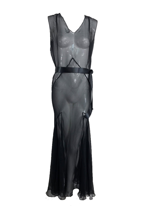 1930s Black Silk Chiffon Bias Cut Evening Dress vintage