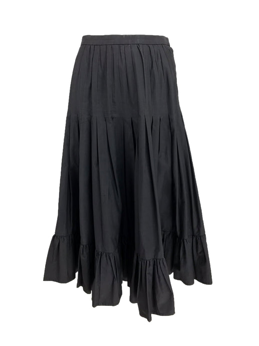Vintage Valentino Pleated and Gathered Black Cotton Skirt 1970s