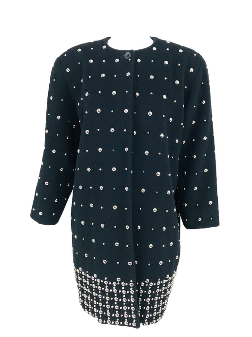 Nancy Heller Black Cashmere and Wool Silver Studded Coat 1980