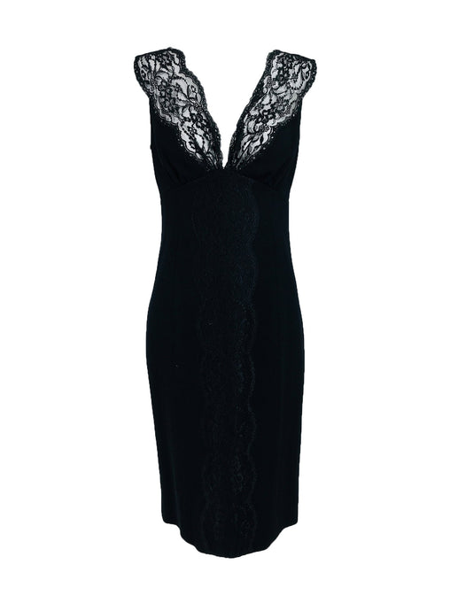 Valentino Sleeveless Black Sheath with Black Lace Décolletage