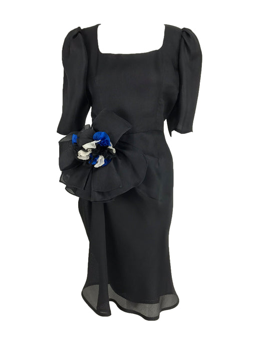 Givency Black Textured Silk Dress with Hip Bow 1990s