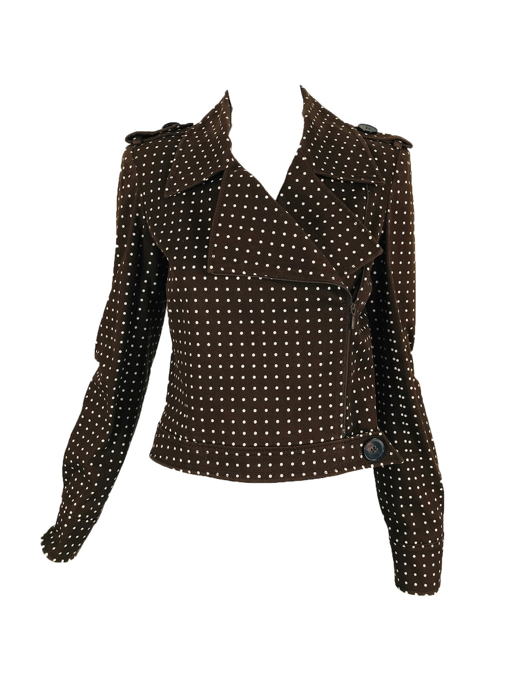 Valentino Brown and White Dot Cropped Motorcycle Jacket