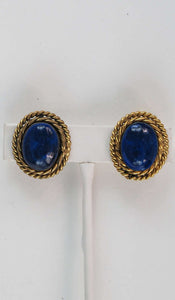 Vintage Chanel Gripoix Earrings Blue and Gold with Rope Twist