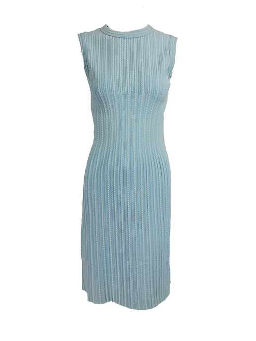 Azzedine Alaïa Blue and Cream Fitted Body Con Dress